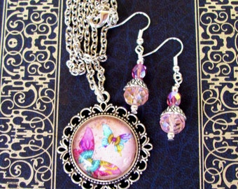 Jewelry Set (S603) Necklace and Earrings, Butterfly Graphic Under Glass Pendant,  Crystal Dangles, Silver, Pink and Baby Blue