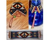 Loom Beaded Peace Sign Cuff Bracelet-(LB)