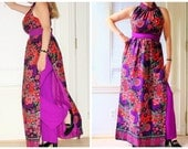 1970s psychedelic paisley maxi dress over pants / hippie print purple red / high side slits / 2 piece hostess outfit