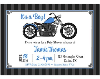 Motorcyle Invitation Printable or Printed with FREE SHIPPING - Blue Motorcycle Collection
