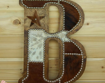 Cowhide Wall Letter B - Made to Order, Western Home Decor, Wall Hanging, Cowboy Nursery, Monogram