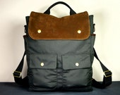 City Backpack Convertible in Black Canvaas and Brown Suede/ Convertible Backpack / Laptop Backpack / Man Backpack / Leather Backpack