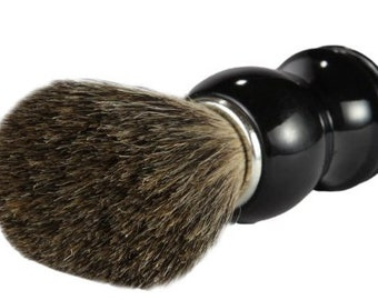Men's Natural Shaving Brush ~ Pure Badger Hair w/ Black Handle ~ Comes in a Box Or Multi-Purpose Cleaning Tool
