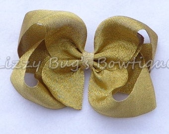 Gold Boutique Hair Bow~Basic Boutique Bow~Shimmering Gold Hair Bow~Christmas Hair Bow~Large Boutique Bow~Large Hairbow~Gold Bow
