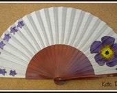 MTO Hand Fan Scattered Purple Flowers and Large Flower Pear Wood Fan