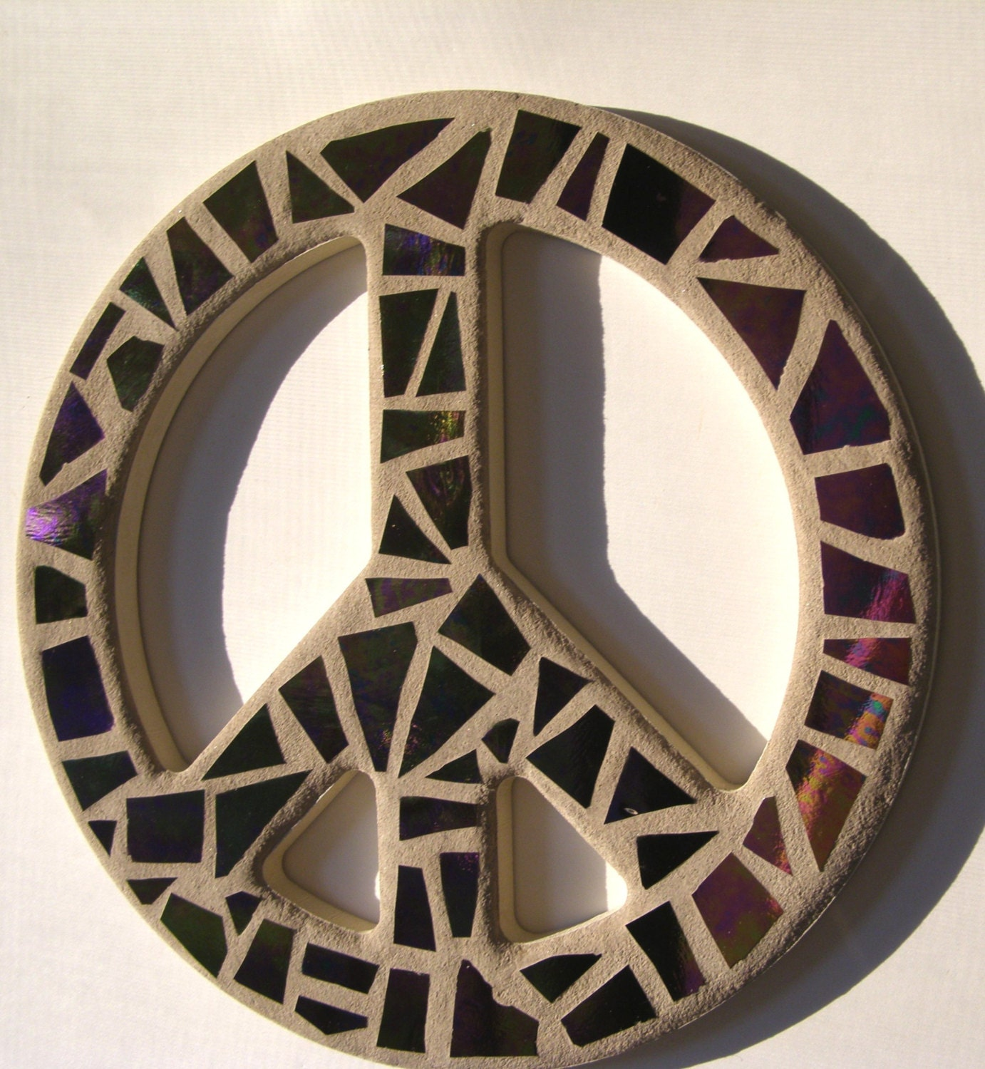 Peace Sign Wall Art Purple Mosaic Stained By Breakitupdesigns