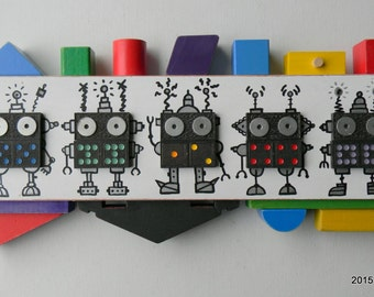 Recycled Assemblage - Domino Bots - Found Object Art - Kids Room Decor - Mixed Media Assemblage by Jen Hardwick
