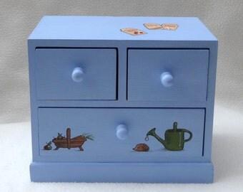 SALE. Keepsake Garden Treasure box Chest of drawers soft Blue - hand painted Last few left