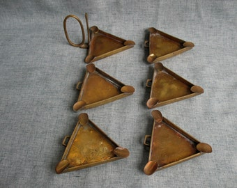 Vintage Brass Ashtray Set of 6 Stackable Triangular Ashtrays Etched Design