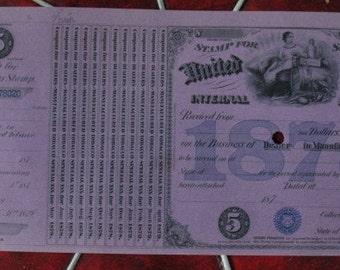 Antique Tobacco Tax Stamp 1878 Dealer in Manufactured Tobacco Civil War Era Revenue Tax Scotch Cigars Cigarettte