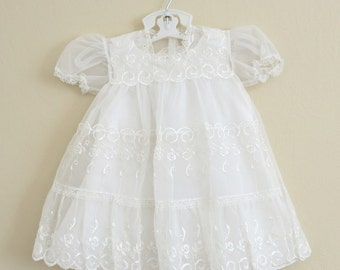 Sheer White Baby Dress Embroidered Nylon Cotton Slip 12 to 18 Months 123b