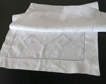 Victorian White Damask Center Cloth Buratto Drawn Work Designs 762a