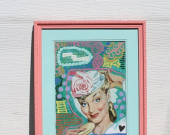 Pin up printed mixed media framed art