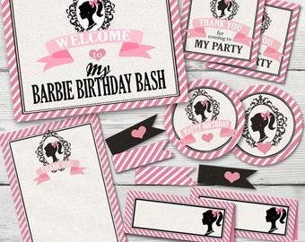 Vintage Barbie Birthday Party, PRINTABLE, Barbie Birthday Decorations, Barbie Birthday Party, Vintage Barbie Party, Barbie Party Supplies