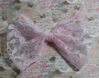 Pink lace Hair Bow/ Simple pink lace HairBow/ Hair Bows