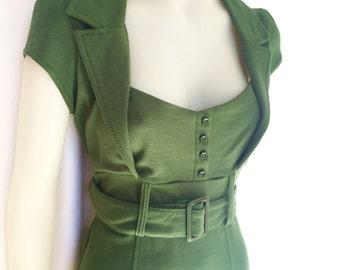 Green dress, mad men dress, rockabilly, retro 50s dress,pinup dress, green stretch,  knee length,sweetheart neckline