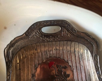 Vintage Ornate Silver / Metal  Butlers Crumb Tray / Pan with Girl walking her Scotty Dog.