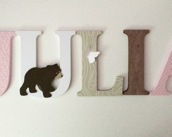 Woodland animal themed letters for nursery in pink  and green