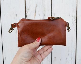 Leather belt bag, Rust brown unisex hipster bag,  phone covers, men rustic bike bag, bicycle belt bag, zipper case, unique gift for men
