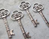 4pcs - Catalina Antique Silver Skeleton Key