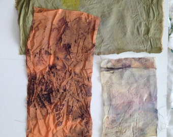 Botanical Hand-dyed Silk Kimono Cloth (3) with natural plants for artists, quilters, mixed media