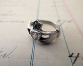 small sterling Claddagh Ring with crystal - Irish, Ireland, love, size 3