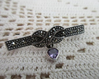 heart sterling silver pin - bow, marcasites, amethyst, brooch