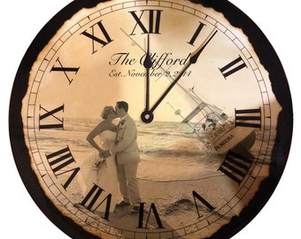wedding clock handmade clock picture clock personalized clock wedding gift wedding