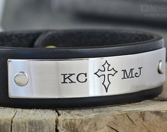 Personalized Anchor or Cross Leather Bracelet - Great idea for Anniversary Gift, Confirmation Gift, Father Gift