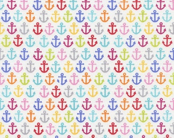 Timeless Treasures - Anchors on White - Sunkissed Swimmers Collection - By The Yard
