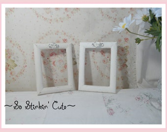 Set of 2 Shabby Off-White Picture Frames 3.5 x 5