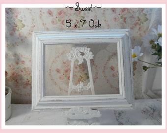 Lovely Oak Off White Picture Frame 5 x 7, Very Sweet~
