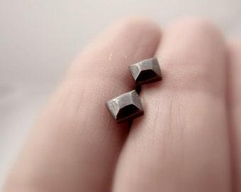 Minimal silver stud earrings - square studs - small earrings - black studs - black stud earrings