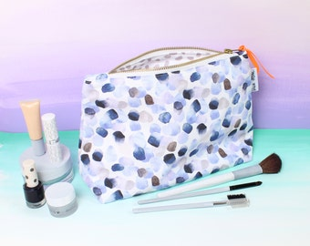 Painterly Petals Blue Wash Bag