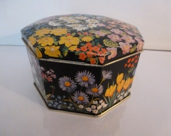 Vintage Tin Flower Covered Tin Made In England Tom Fillery's Toffee Colorful Tin