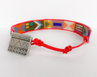 Red Leather Bracelet with Pewter Clasp