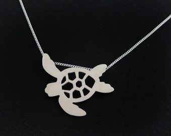 Sea Turtle Necklace - Silver Sea Turtle Jewelry - Sea Inspired Beach Lovers Gift - Endangered Baby Sea Turtle - Honu Necklace