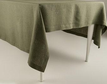 Green tablecloth, Moss green linen tablecloth, Natural tablecloth, Custom tablecloth