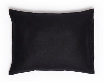 Black linen pillowcase, Black pillowcase, Standard pillowcases Euro shams King size pillow case, Black bedding, Black linen bedding