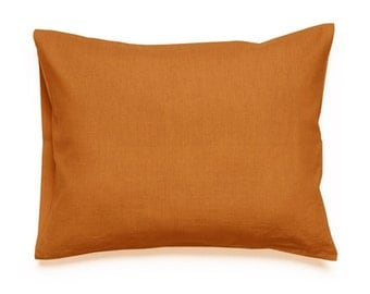 Rust linen pillowcases, linen king pillowcases, linen pillowcase, linen euro sham, orange pillowcases, natural bedding