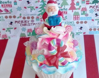Santa Claus Festive Fake Cupcake with Candy Cane Lollipops Photo Props Shop Displays and Christmas Tree Ornaments