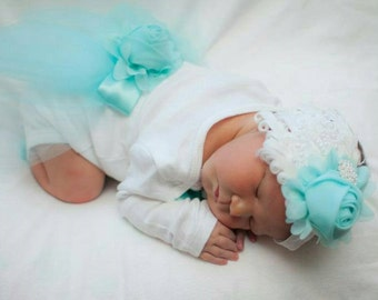 Newborn Girls One piece Bodysuit Aqua Baby Girl Take me home outfit Newborn