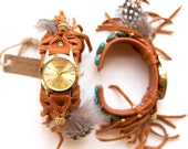 CWC-06, handmade adjustable fringe, feather and turquoise cuff gold watch