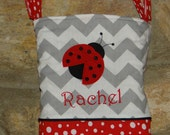 Personalized Wheelchair Tote Bag, Ladybug Applique, embroidered name included
