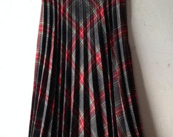 Tartan Plaid Skirt Accordian Pleated Wool, FREE U.S. Shipping