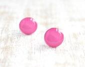 Bubblegum Dots Stud Earrings - Hot Pink - Hypoallergenic Surgical Stainless Steel Post Earrings