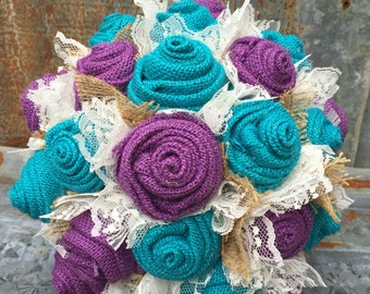 Turquoise and Purple  Burlap and Lace Bride's Bouquets Custom Wedding Arrangements with Fabric Flowers