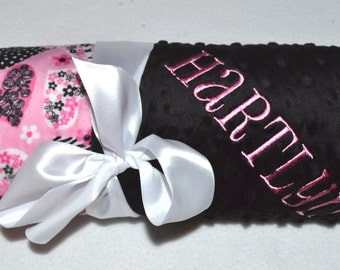 SALE Monogrammed Baby Blanket -  Minky Blanket - Hot Pink, Pink and Black Hearts Valentine - Personalized custom Blanket with name Newborn
