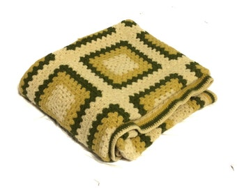 Vintage Green Gold and  Cream  Crocheted Granny Square Wool Afghan Throw