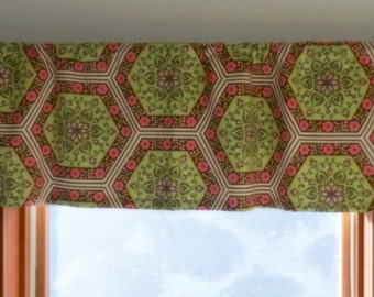 Lined Window Valance, Green, Pink Amy Butler Home Decor Fabric, 52 x 16 inches for a bedroom, girl's room